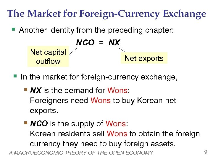 The Market for Foreign-Currency Exchange § Another identity from the preceding chapter: NCO =