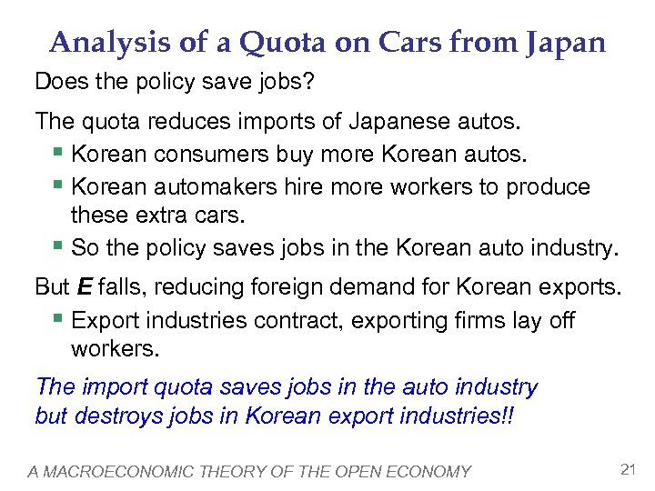 Analysis of a Quota on Cars from Japan Does the policy save jobs? The