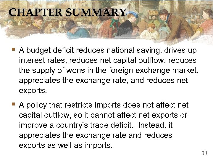 CHAPTER SUMMARY § A budget deficit reduces national saving, drives up interest rates, reduces