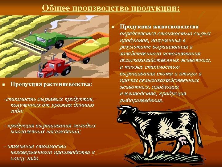 Общее производство продукции: n n Продукция растениеводства: - стоимость сырьевых продуктов, полученных от урожая