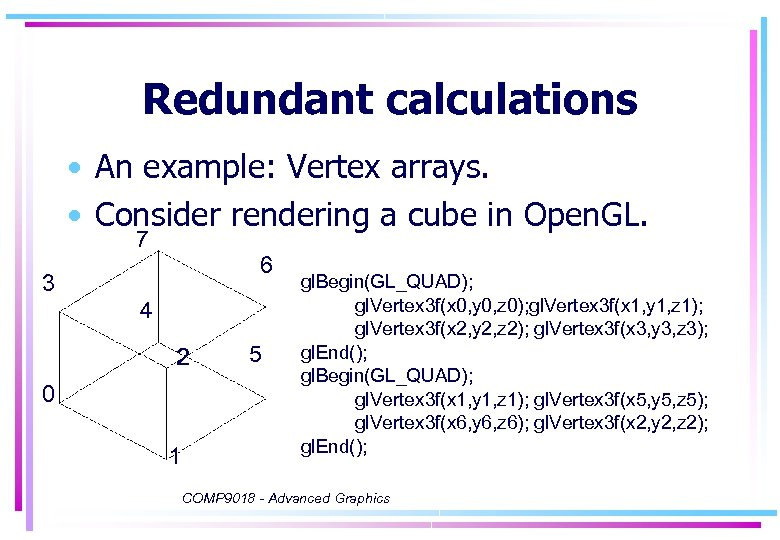 Redundant calculations • An example: Vertex arrays. • Consider rendering a cube in Open.