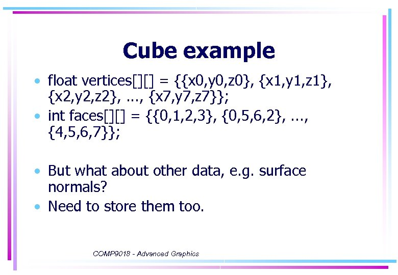 Cube example • float vertices[][] = {{x 0, y 0, z 0}, {x 1,