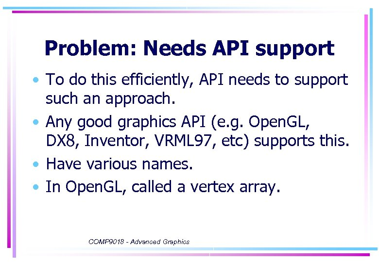 Problem: Needs API support • To do this efficiently, API needs to support such