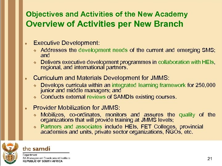 Objectives and Activities of the New Academy Overview of Activities per New Branch ¨