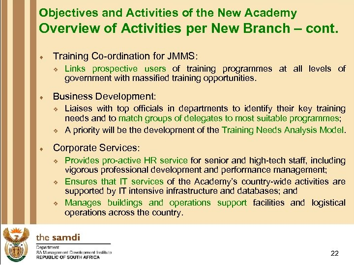 Objectives and Activities of the New Academy Overview of Activities per New Branch –