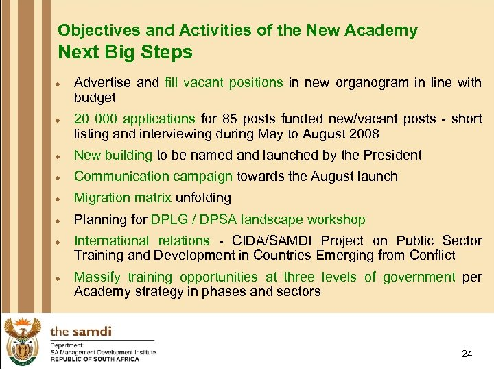 Objectives and Activities of the New Academy Next Big Steps ¨ Advertise and fill