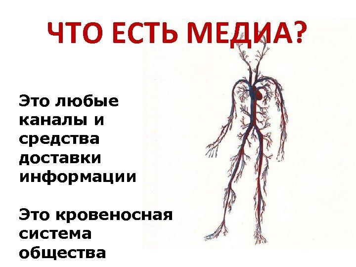 ЧТО ЕСТЬ МЕДИА? Это любые каналы и средства доставки информации Это кровеносная система общества