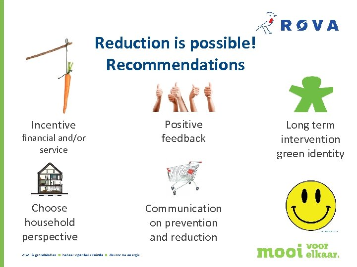 Reduction is possible! Recommendations Incentive financial and/or service Choose household perspective Positive feedback Communication