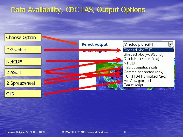 Data Availability, CDC LAS, Output Options Choose Option 2 Graphic Net. CDF 2 ASCII