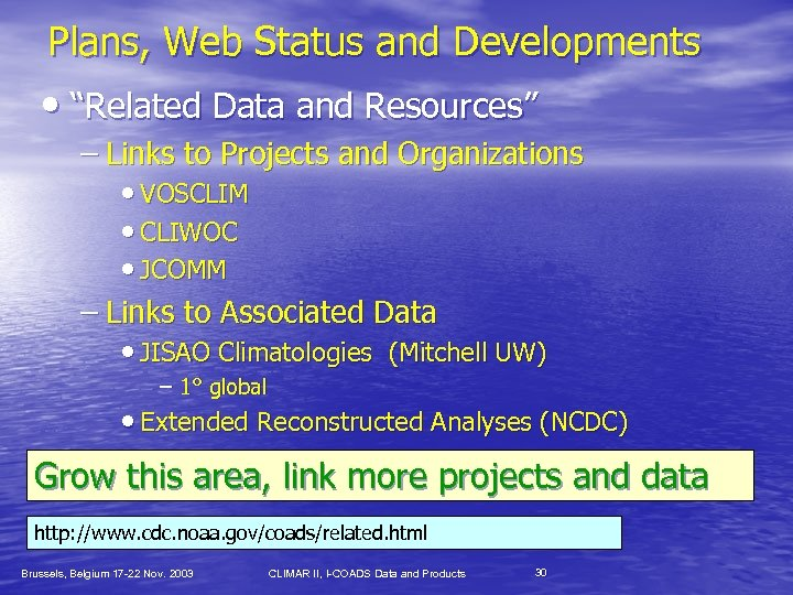 """Plans, Web Status and Developments • """"Related Data and Resources"""" – Links to Projects"""