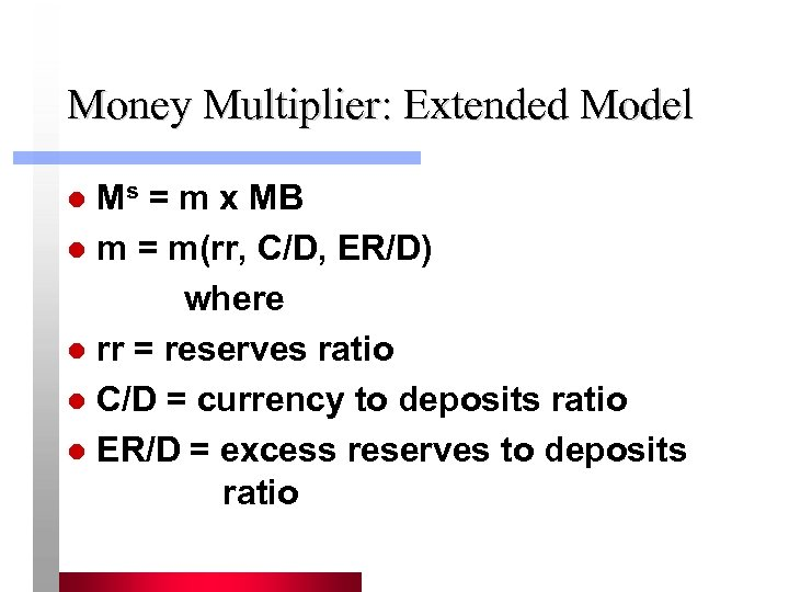 Money Multiplier: Extended Model Ms = m x MB l m = m(rr, C/D,