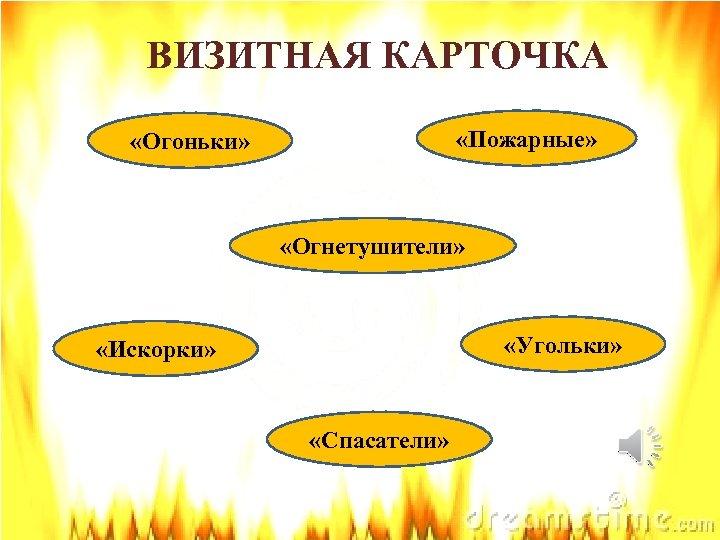 ВИЗИТНАЯ КАРТОЧКА «Пожарные» «Огоньки» «Огнетушители» «Угольки» «Искорки» «Спасатели»