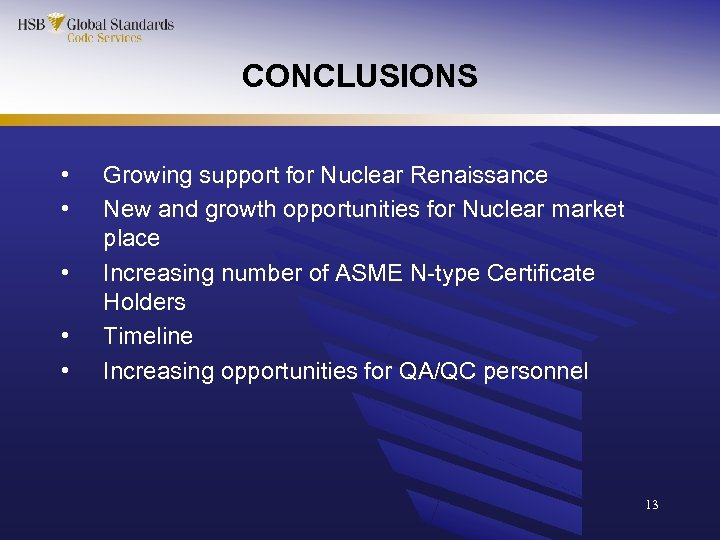 CONCLUSIONS • • • Growing support for Nuclear Renaissance New and growth opportunities for
