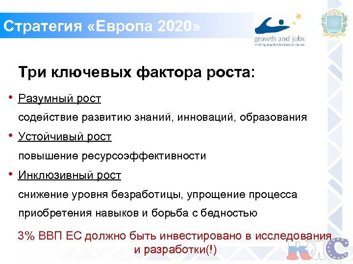 Стратегия «Европа 2020» Три ключевых фактора роста: • Разумный рост содействие развитию знаний, инноваций,