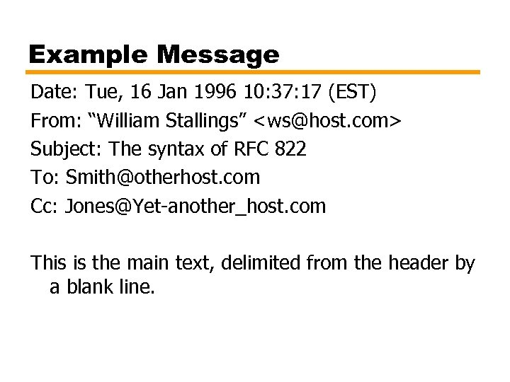 """Example Message Date: Tue, 16 Jan 1996 10: 37: 17 (EST) From: """"William Stallings"""""""