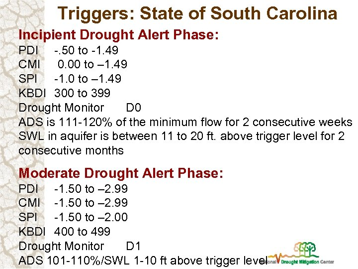 Triggers: State of South Carolina Incipient Drought Alert Phase: PDI -. 50 to -1.