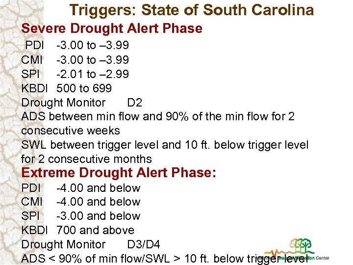 Triggers: State of South Carolina Severe Drought Alert Phase : PDI -3. 00 to