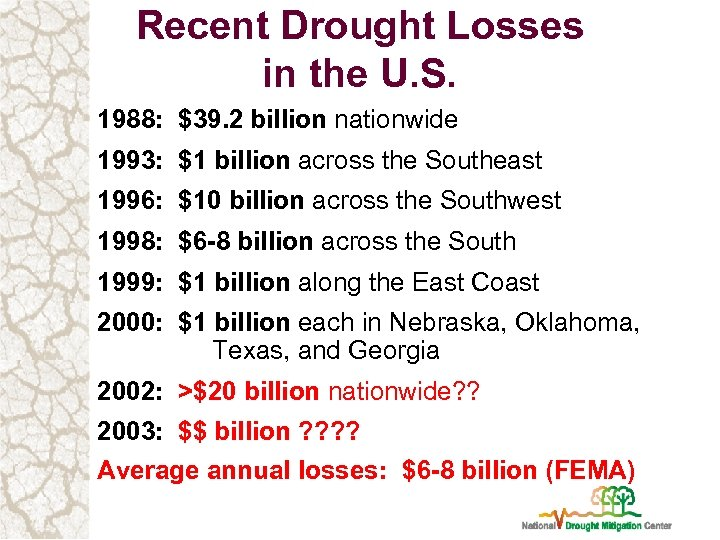 Recent Drought Losses in the U. S. 1988: $39. 2 billion nationwide 1993: $1