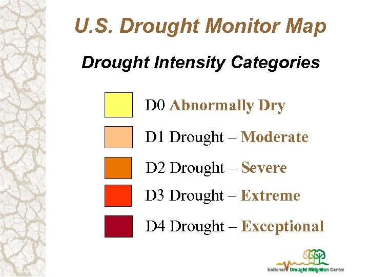 U. S. Drought Monitor Map Drought Intensity Categories D 0 Abnormally Dry D 1