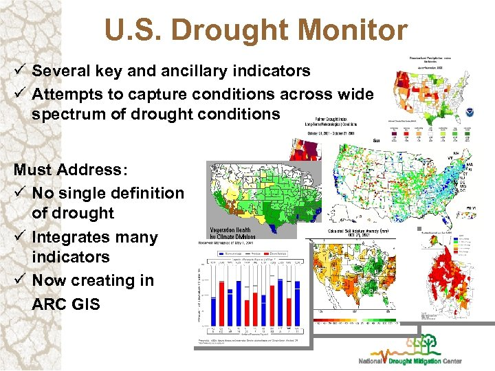 U. S. Drought Monitor ü Several key and ancillary indicators ü Attempts to capture