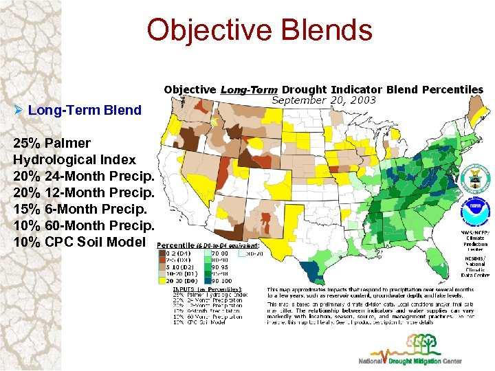 Objective Blends Ø Long-Term Blend 25% Palmer Hydrological Index 20% 24 -Month Precip. 20%