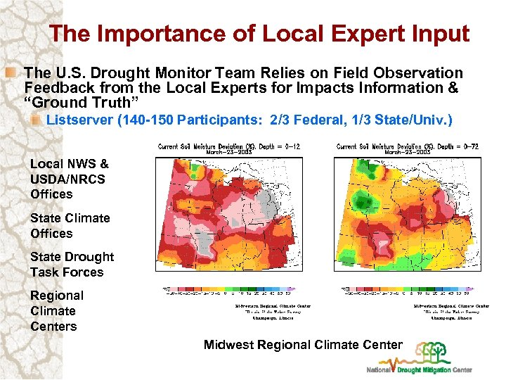 The Importance of Local Expert Input The U. S. Drought Monitor Team Relies on