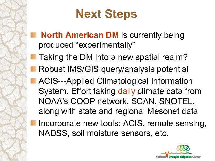 "Next Steps North American DM is currently being produced ""experimentally"" Taking the DM into"