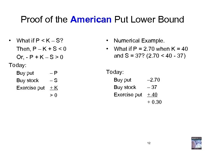 Proof of the American Put Lower Bound • What if P < K –
