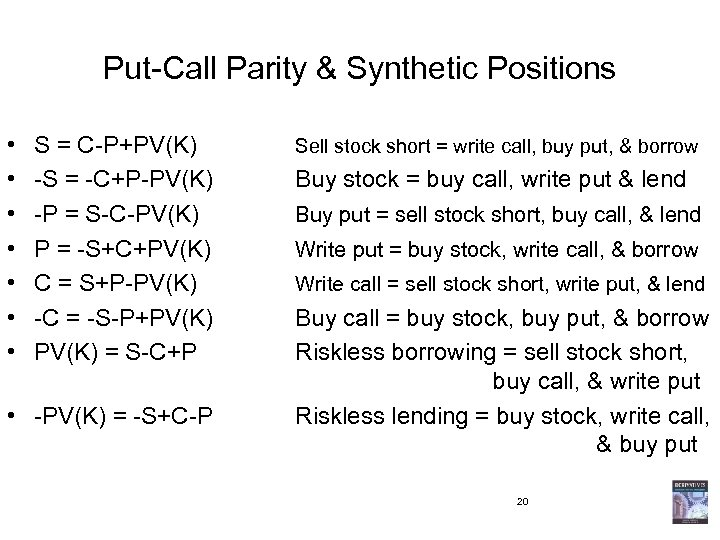 Put-Call Parity & Synthetic Positions • • S = C-P+PV(K) -S = -C+P-PV(K) -P