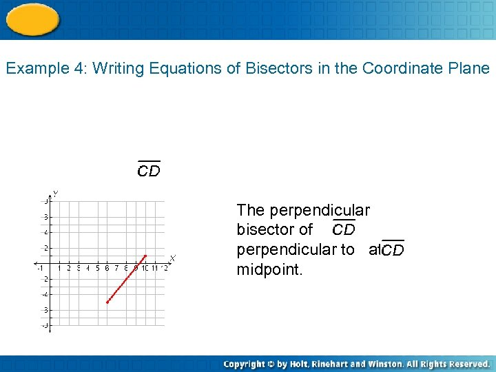Example 4: Writing Equations of Bisectors in the Coordinate Plane The perpendicular bisector of