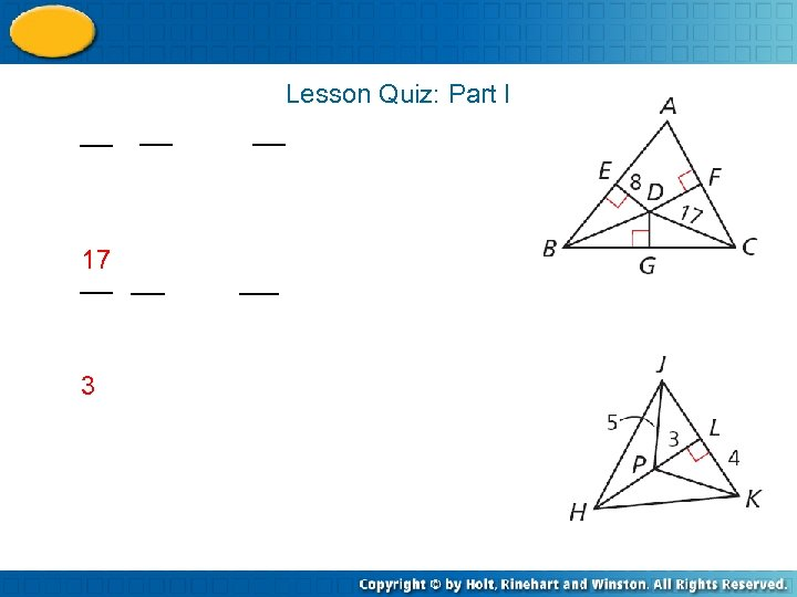 Lesson Quiz: Part I 17 3