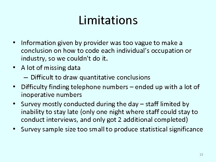 Limitations • Information given by provider was too vague to make a conclusion on
