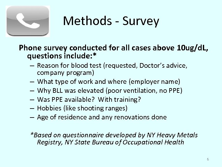 Methods - Survey Phone survey conducted for all cases above 10 ug/d. L, questions