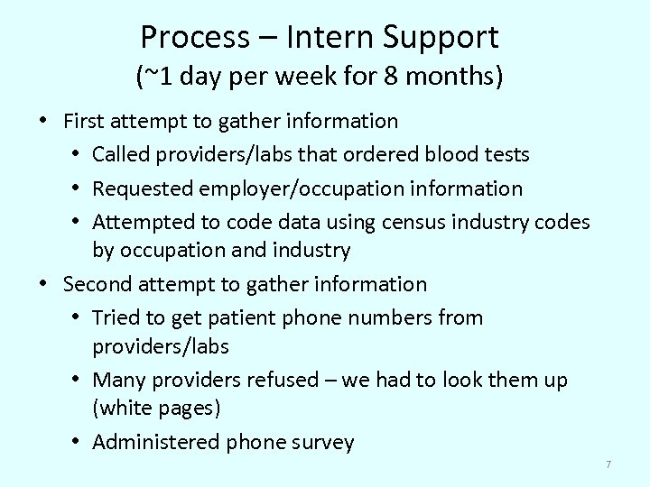 Process – Intern Support (~1 day per week for 8 months) • First attempt