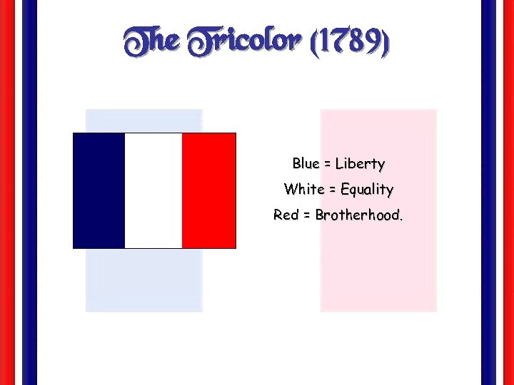 The Tricolor (1789) Blue = Liberty White = Equality Red = Brotherhood.