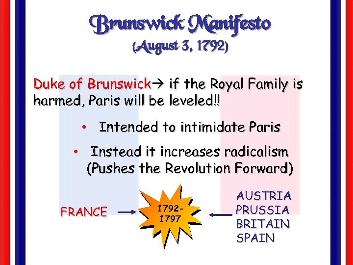 Brunswick Manifesto (August 3, 1792) Duke of Brunswick if the Royal Family is harmed,