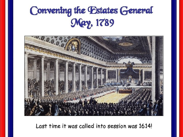 Convening the Estates General May, 1789 Last time it was called into session was
