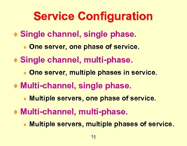 Service Configuration ¨ Single channel, single phase. ¨ One server, one phase of service.
