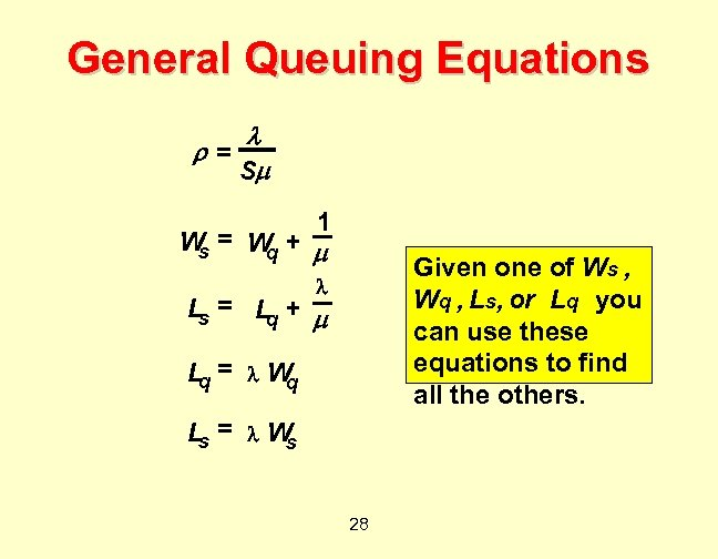 General Queuing Equations = S 1 = W + W s q Given one