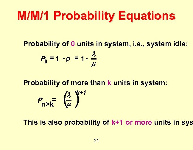 M/M/1 Probability Equations Probability of 0 units in system, i. e. , system idle: