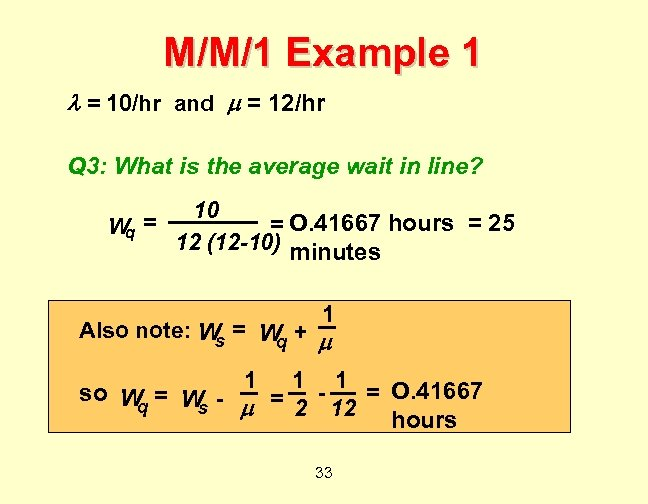 M/M/1 Example 1 = 10/hr and = 12/hr Q 3: What is the average