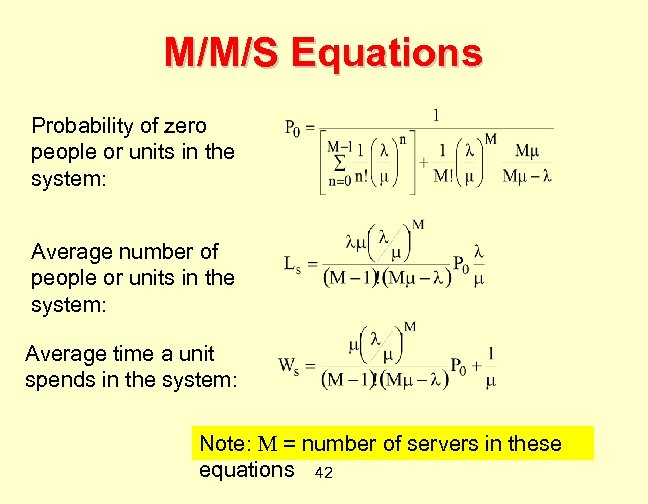 M/M/S Equations Probability of zero people or units in the system: Average number of