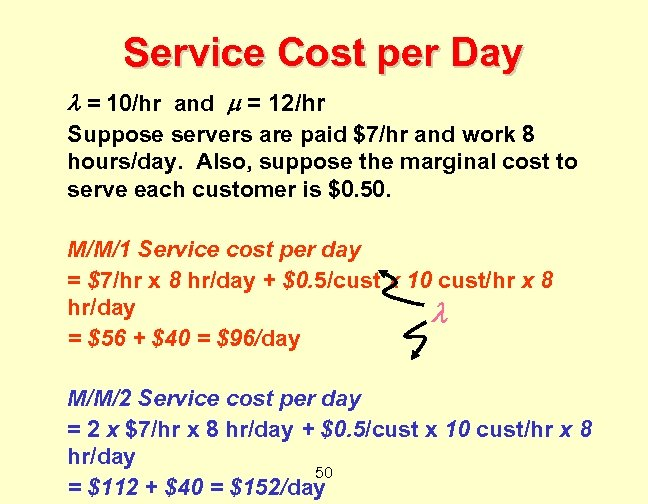Service Cost per Day = 10/hr and = 12/hr Suppose servers are paid $7/hr