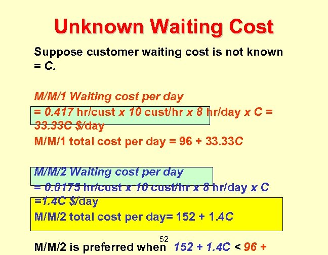 Unknown Waiting Cost Suppose customer waiting cost is not known = C. M/M/1 Waiting
