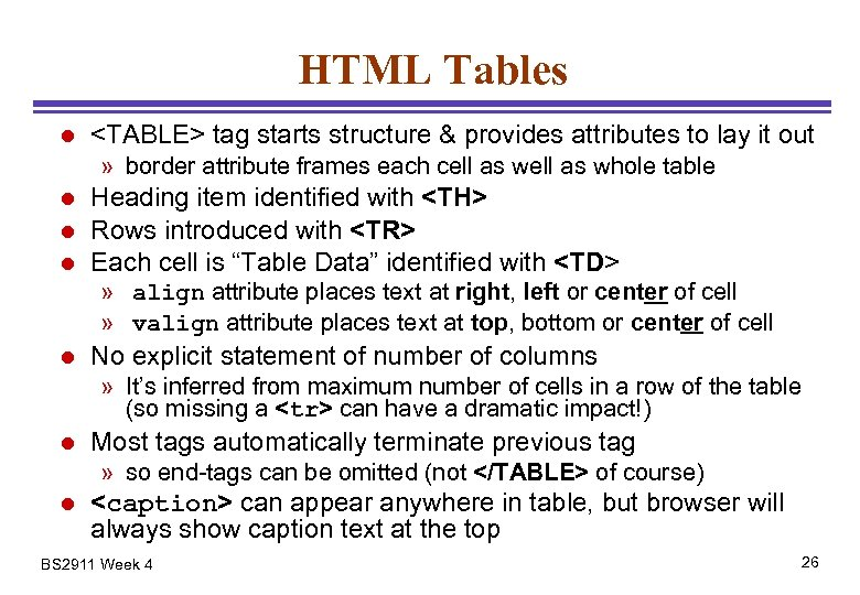 HTML Tables l <TABLE> tag starts structure & provides attributes to lay it out