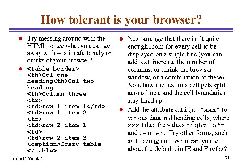 How tolerant is your browser? l Try messing around with the HTML to see