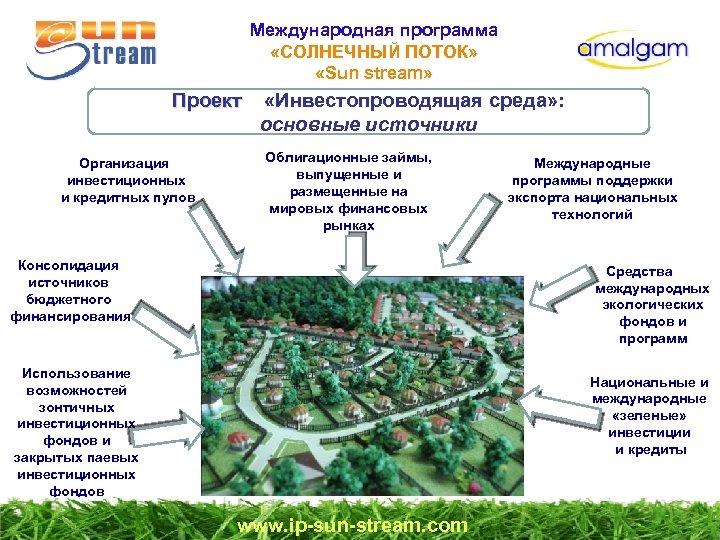 Международная программа «СОЛНЕЧНЫЙ ПОТОК» «Sun stream» Проект «Инвестопроводящая среда» : Проект основные источники Организация