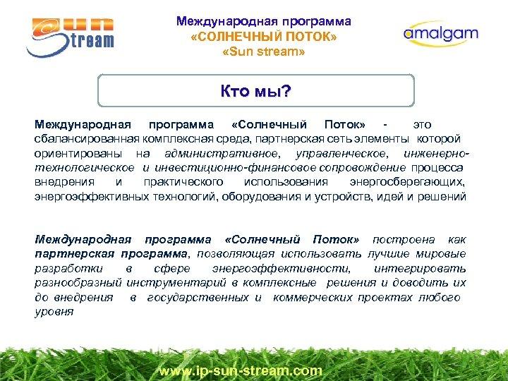 Международная программа «СОЛНЕЧНЫЙ ПОТОК» «Sun stream» Кто мы? Международная программа «Солнечный Поток» - это