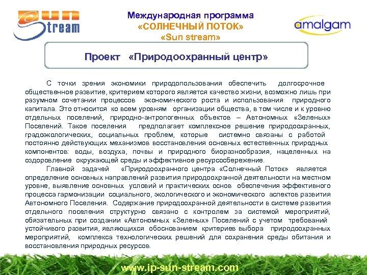 Международная программа «СОЛНЕЧНЫЙ ПОТОК» «Sun stream» Проект «Природоохранный центр» Проект С точки зрения экономики