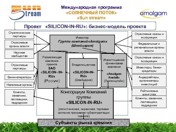 Международная программа «СОЛНЕЧНЫЙ ПОТОК» «Sun stream» Проект «SILICON-IN-RU» : бизнес-модель проекта Проект Стратегические партнеры